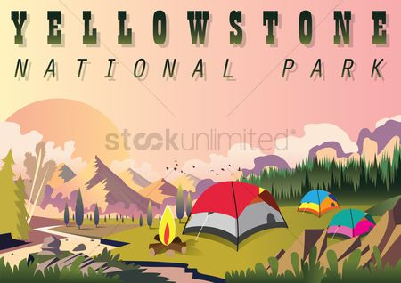 Camp : Yellowstone national park wallpaper