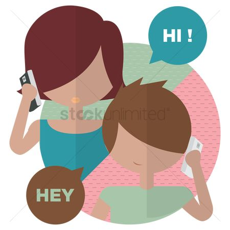 Boys : Young girl and boy talking on phone