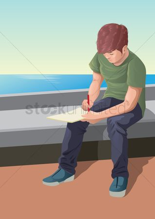 Footwears : Young man writing on book