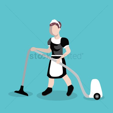 Cleaner : Young woman avatar cleaning