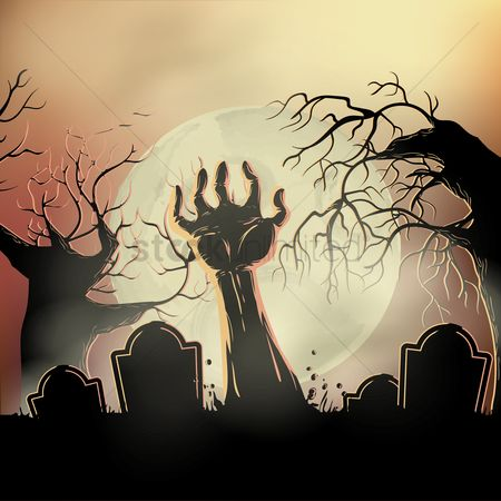 Oct : Zombie hand rising from the grave