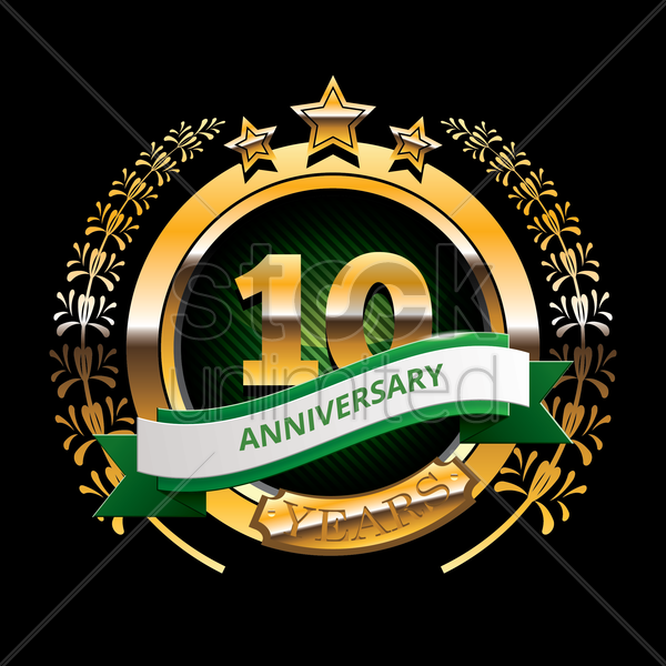 10 Years Anniversary Label With Ribbon Vector Image 1399798