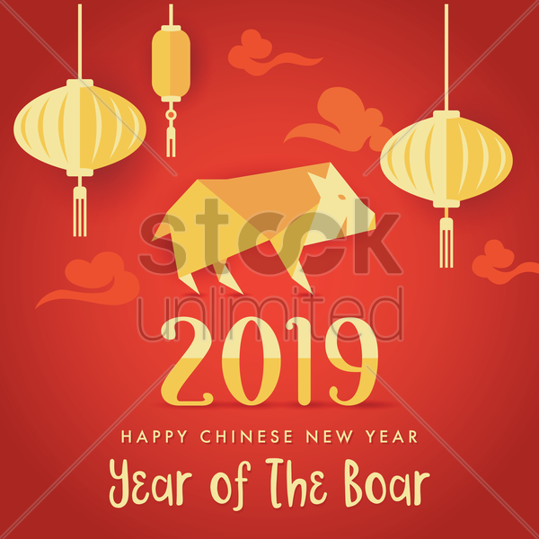 2019 chinese new year greeting vector graphic