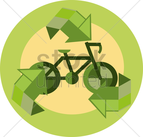 Free a bicycle and recycle symbol vector graphic