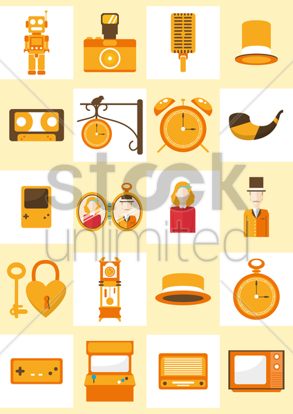 a collection of vintage items vector graphic