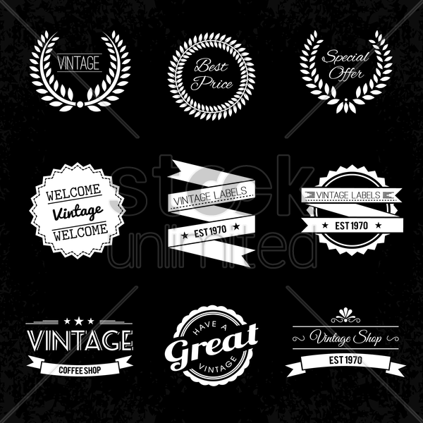 A Collection Of Vintage Labels Vector Graphic