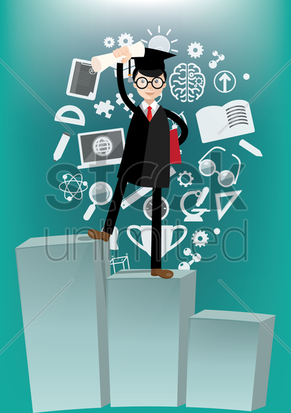 a graduate with various education icons vector graphic