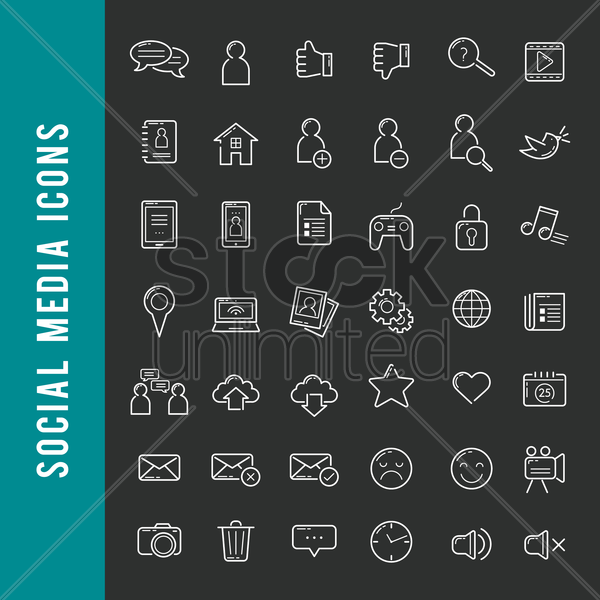 a set of social media icons vector graphic