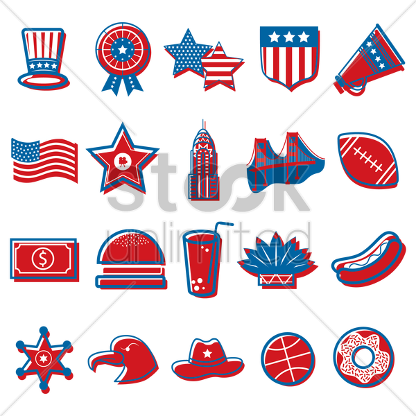 american independence day icons vector graphic