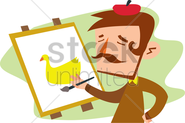 an artist painting vector graphic