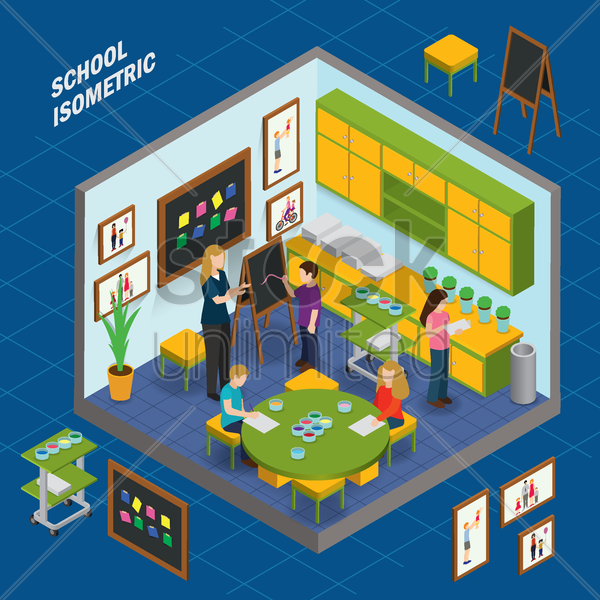 art room school isometric vector graphic
