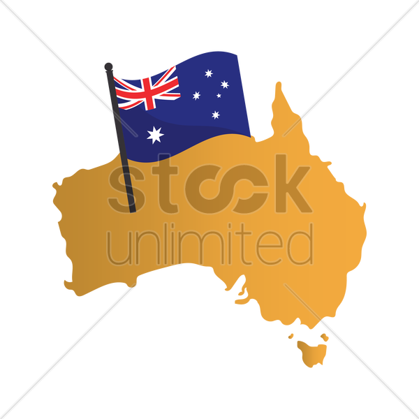 Australia Flag On Map Vector Image 1961550 Stockunlimited