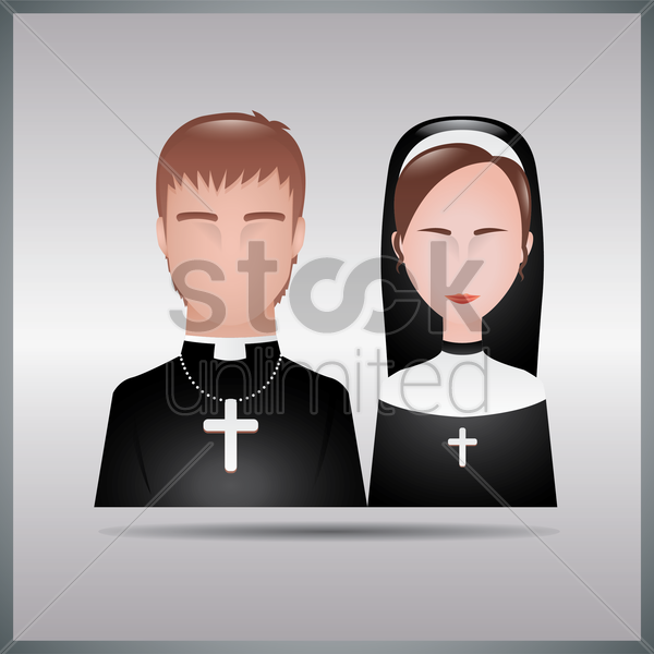 bishop and nun vector graphic