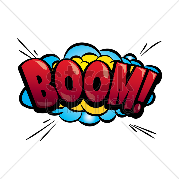 boom text with comic effect vector graphic