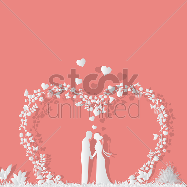 bride and groom under heart shaped arch design vector graphic