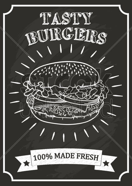 burger poster on chalkboard vector graphic
