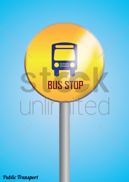 bus stop poster vector graphic