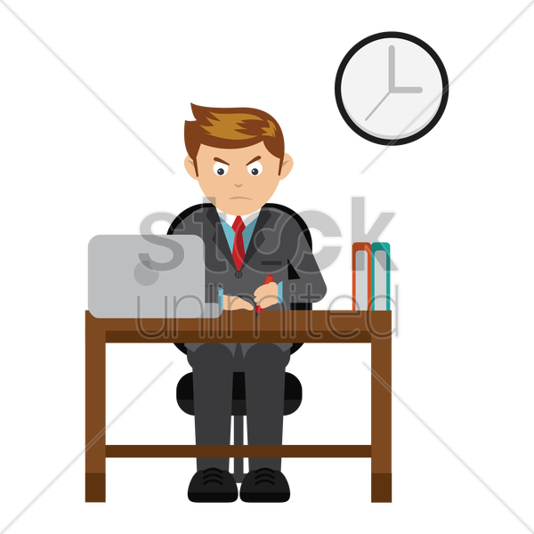 businessman at work vector graphic