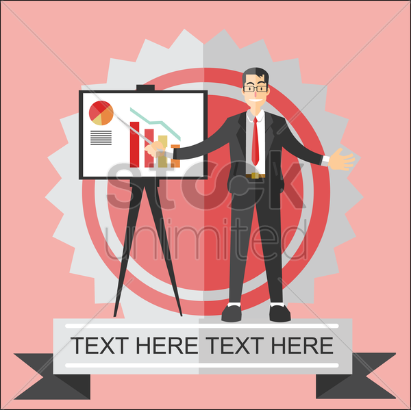 businessman giving presentation on success chart vector graphic