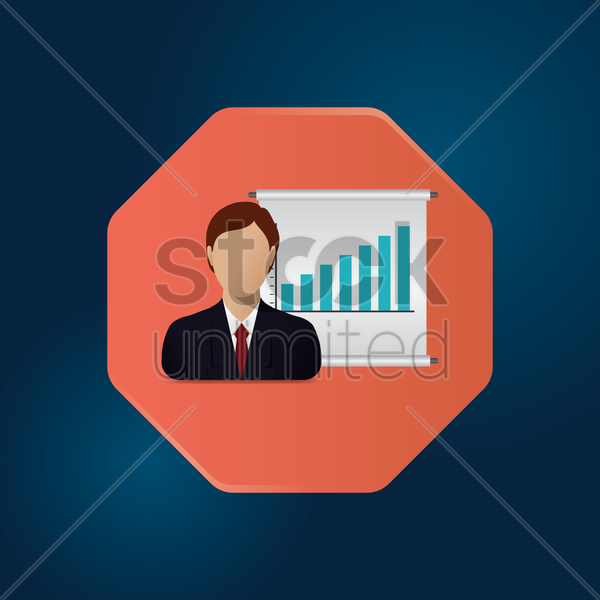 Free businessman with bar graph vector graphic