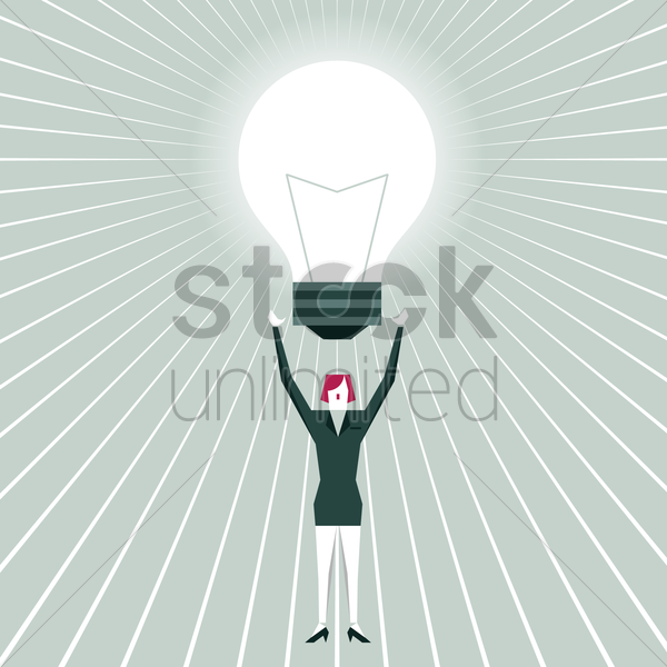 businesswoman holding bulb vector graphic
