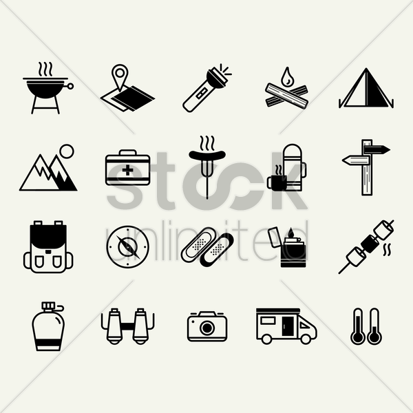 camping and road trip icons vector graphic