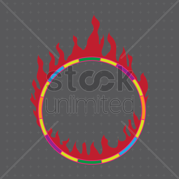 Circus Ring With Fire Vector Graphic