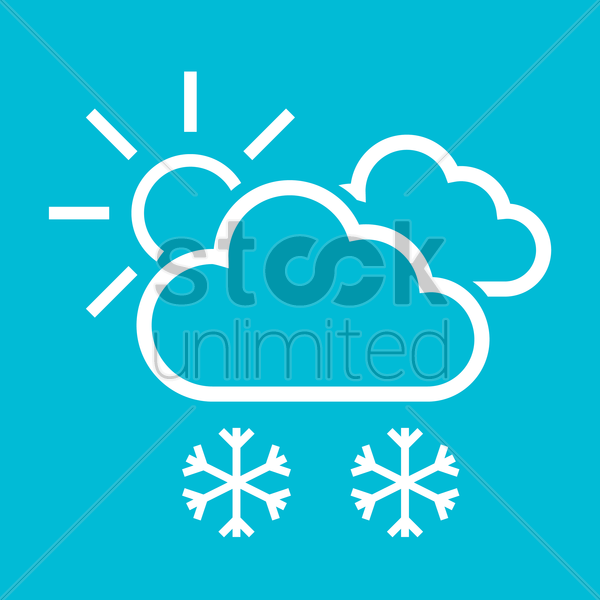 Free Cloud with snowflake and sun Vector Image - 1280206