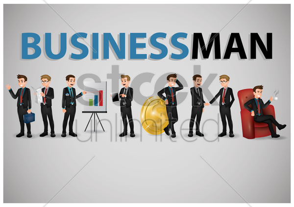 collection of business people vector graphic