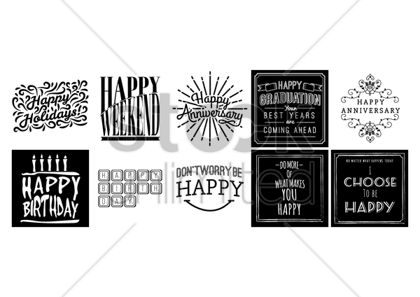 collection of happy quotes and wishes vector graphic