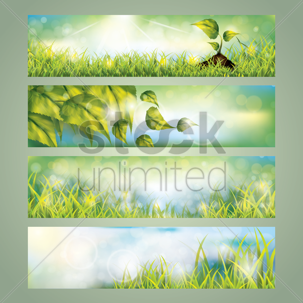 collection of nature banner designs vector graphic