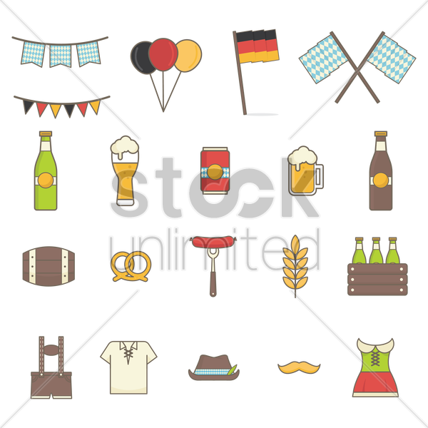 collection of octoberfest icons vector graphic