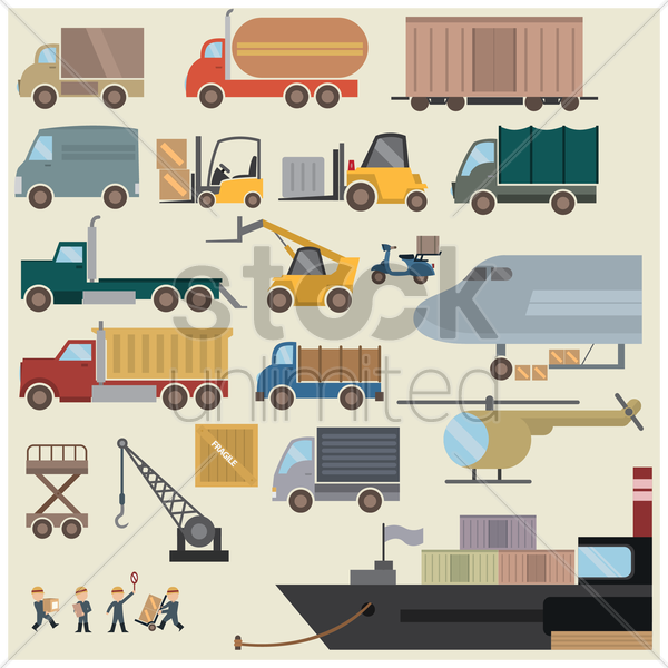 collection of shipping equipment and transportation vector graphic