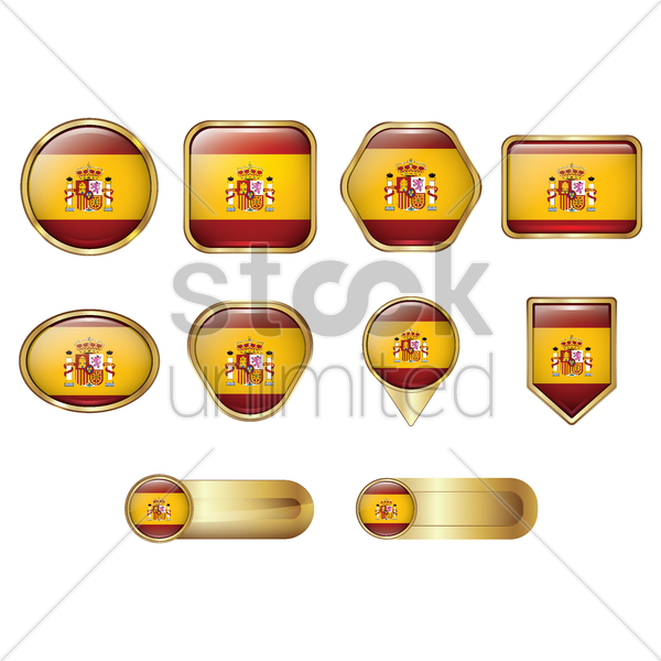 collection of spain flags vector graphic