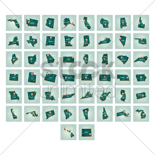 collection of united states map with capital city vector graphic