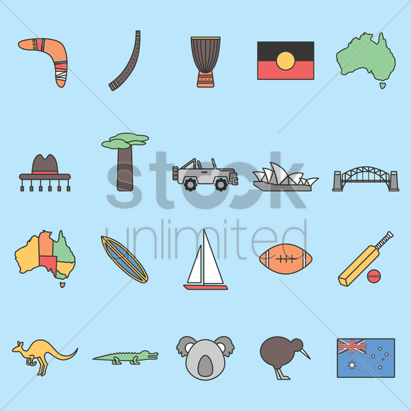 compilation of australian item vector graphic