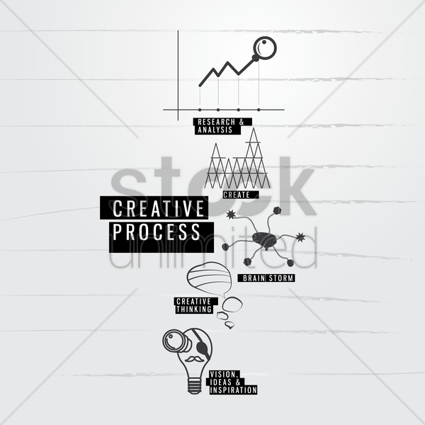 creative process icons vector graphic
