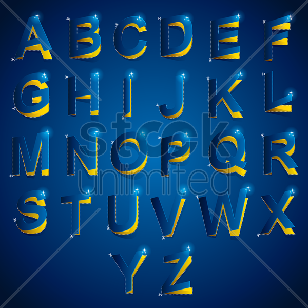 cutout of alphabets vector graphic