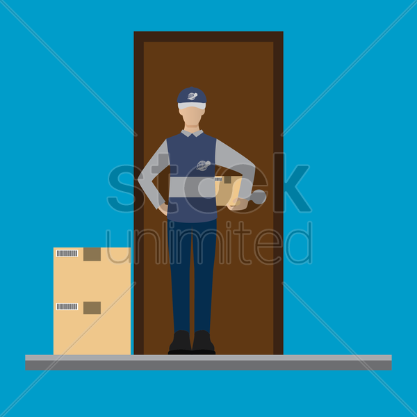 delivery man on duty waiting at door vector graphic