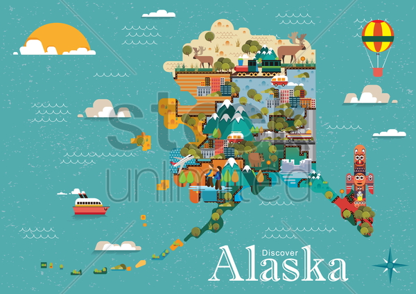 discover alaska vector graphic