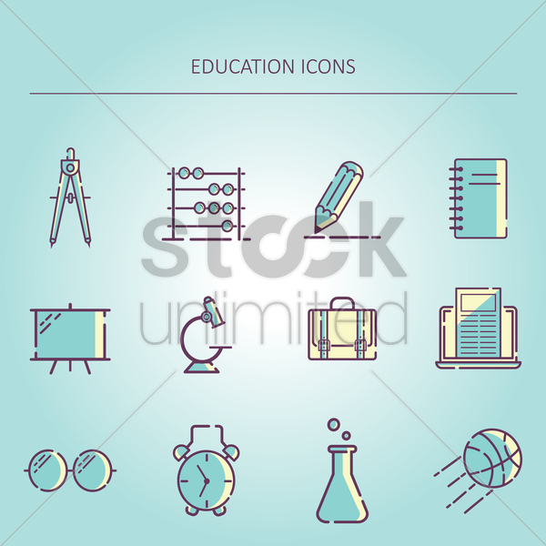 Free education icons vector graphic