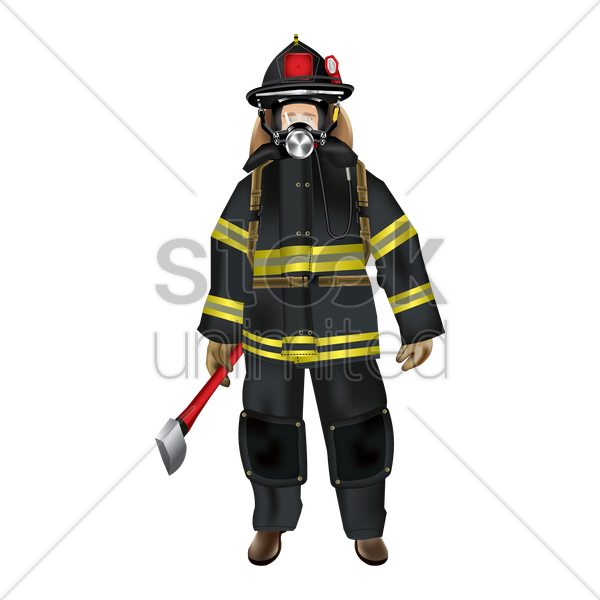 Firefighter holding axe Vector Image - 1637130 | StockUnlimited