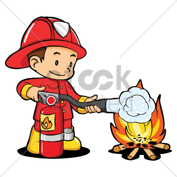 fireman to the fire fighting vector graphic
