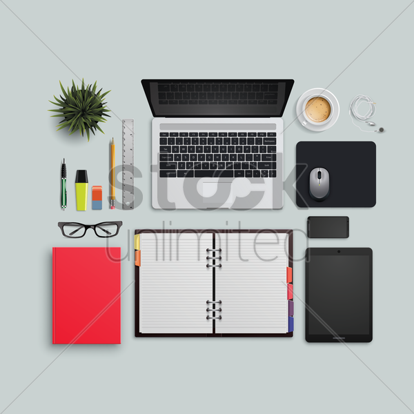 Flatlay Of Office Desk And Equipment Vector Image