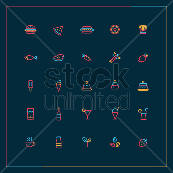 food and beverage icon set vector graphic
