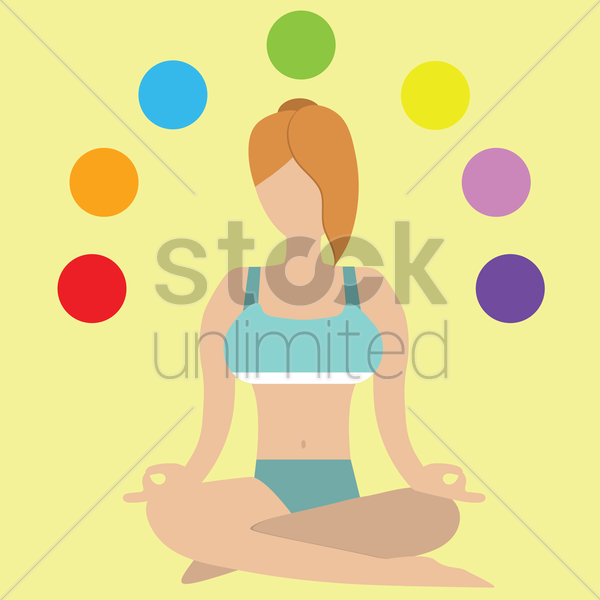 girl in seated meditation with chakra orientation vector graphic