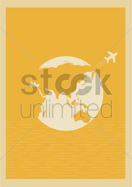 globe and plane vector graphic