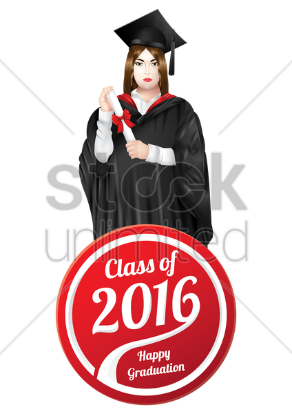 graduation label with graduate vector graphic