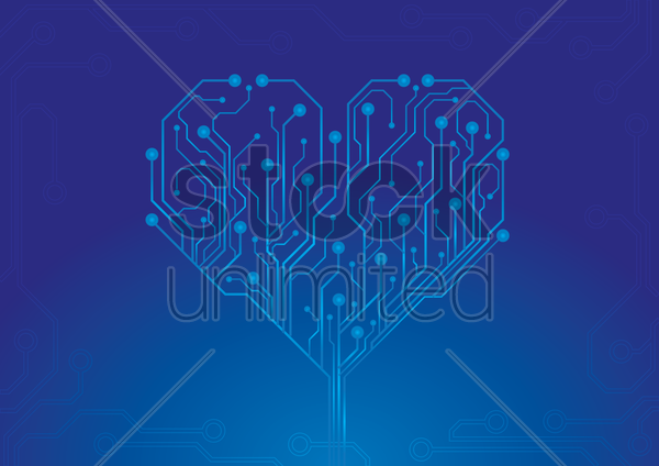 heart shape circuit vector graphic