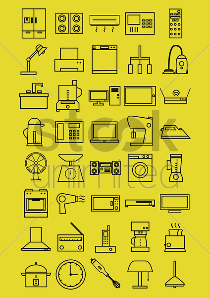 home electrical appliances vector graphic